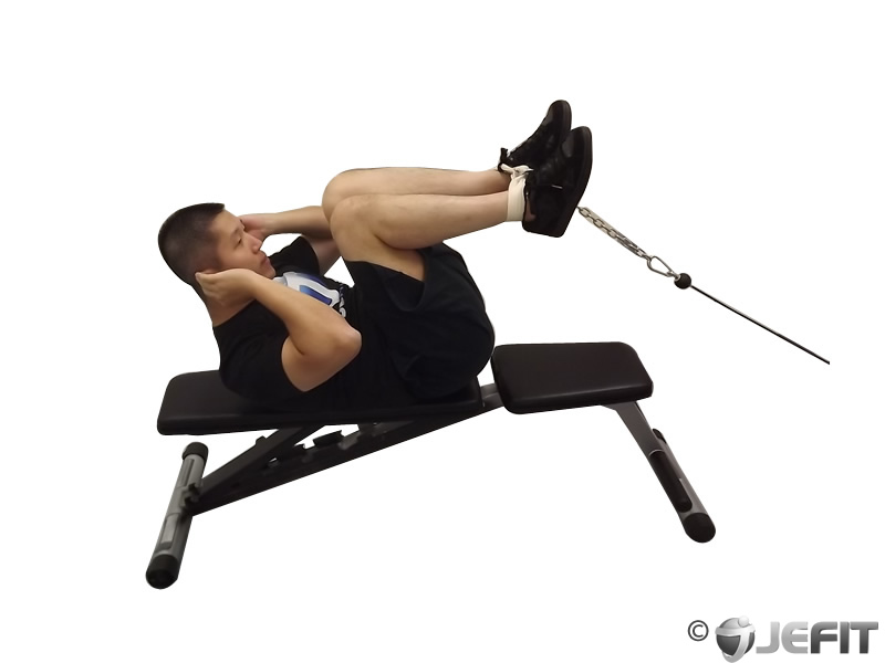 The Best Cable Exercises with an Ankle Strap - Weighted crunches with cable